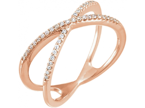 Accented Criss-Cross Ring   - 14K Rose 1/6 CTW Diamond Criss-Cross Ring