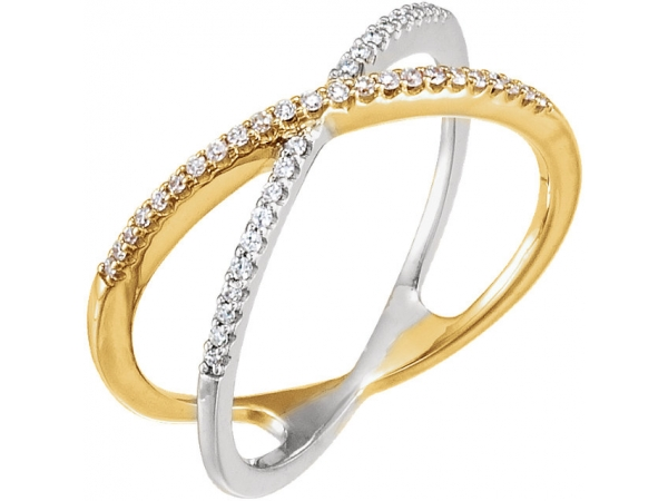Diamond Ring - Polished 14K Yellow Gold & 14K White Gold Diamond Ring