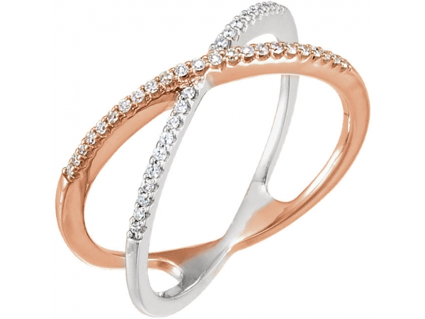 Diamond Ring - Polished 14K Rose Gold & 14K White Gold Diamond Ring