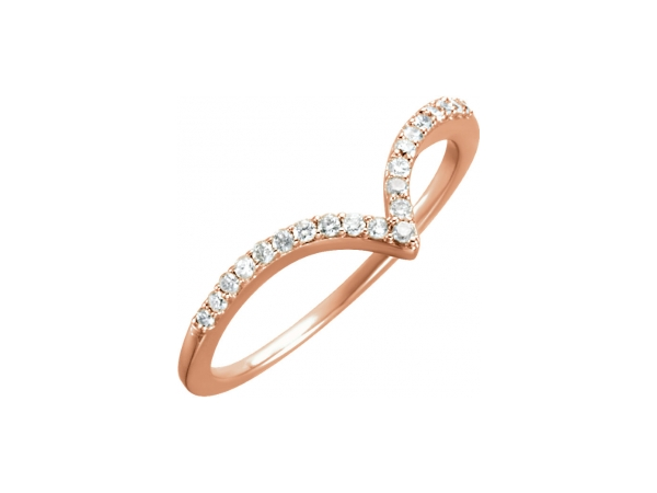 Diamond Ring - Polished 14K Rose Gold Diamond Ring