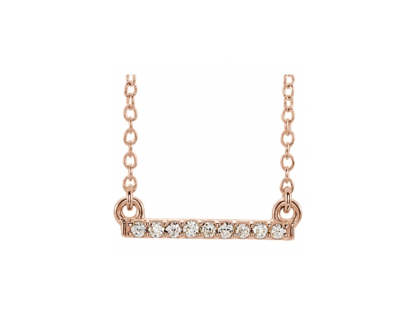 Diamond Necklace - 14K Rose Gold Diamond Necklace