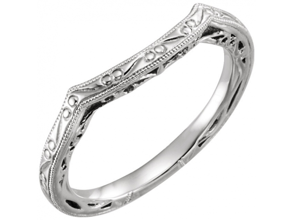 Diamond Fashion Rings - Design-Engraved Engagement Ring Matching Band