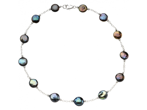 Coin Pearl  Necklace  - Sterling Silver Freshwater Cultured Black Coin Pearl 18