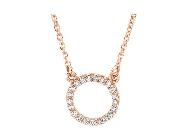 Circle Necklace - 14K Rose 1/10 CTW Diamond Circle 16