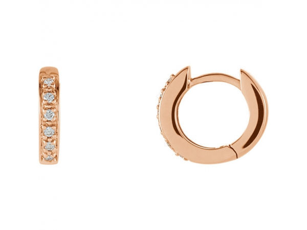 Hinged Hoop Earrings - 14K Rose 1/10 CTW Diamond Hoop Earrings