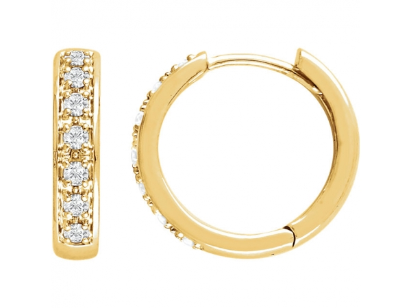 Hinged Hoop Earrings - 14K Yellow 1/3 CTW Diamond Earrings