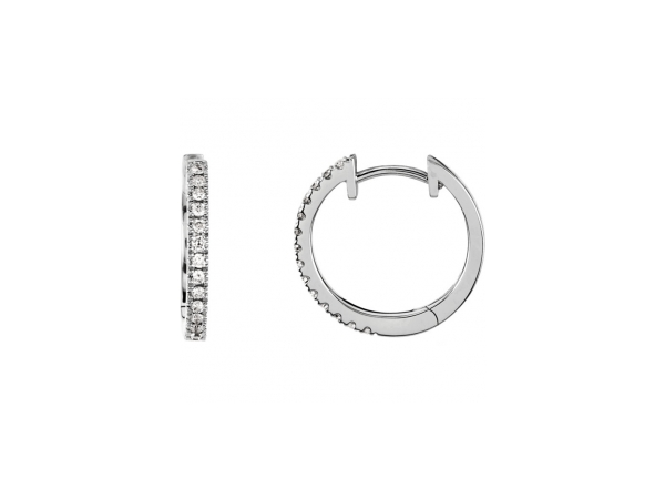Diamond Earrings - Polished 14K White Gold Diamond Earrings