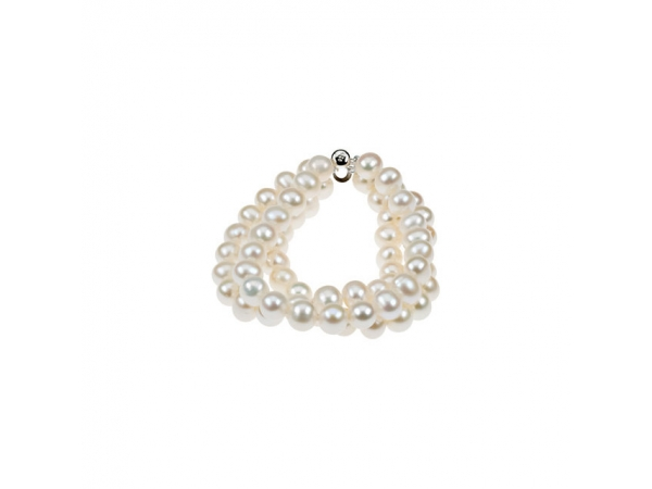 Freshwater Cultured Pearl 3-Strand Bracelet - Sterling Silver 8-9 mm Freshwater Cultured Pearl Triple Strand 7.25
