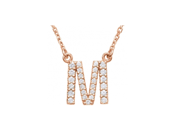 Genuine Diamond Necklace - Polished 14K Rose Gold Genuine Diamond Necklace