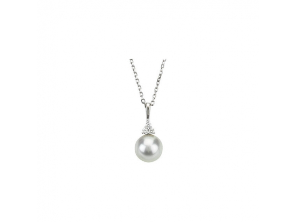 Accented Pearl Necklace   - 14K White Freshwater Cultured Pearl & .06 CTW Diamond 18