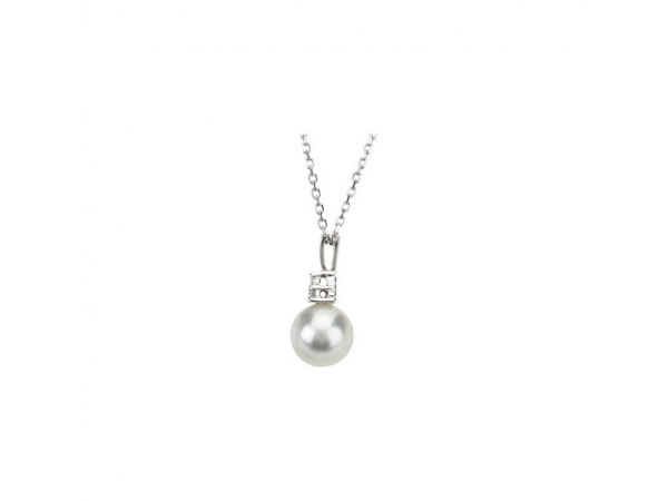 Gemstone Necklaces - Accented Pearl Necklace   - image #2