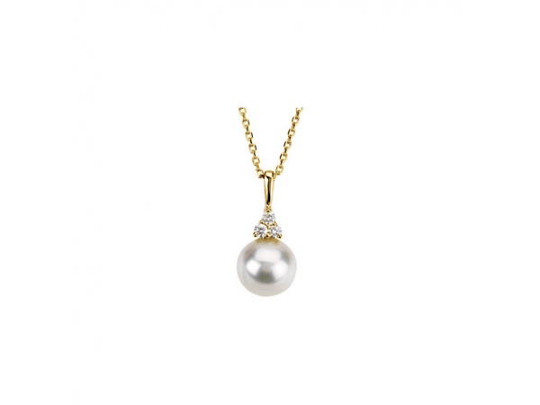 Accented Pearl Necklace   - 14K Yellow Freshwater Cultured Pearl & .06 CTW Diamond 18