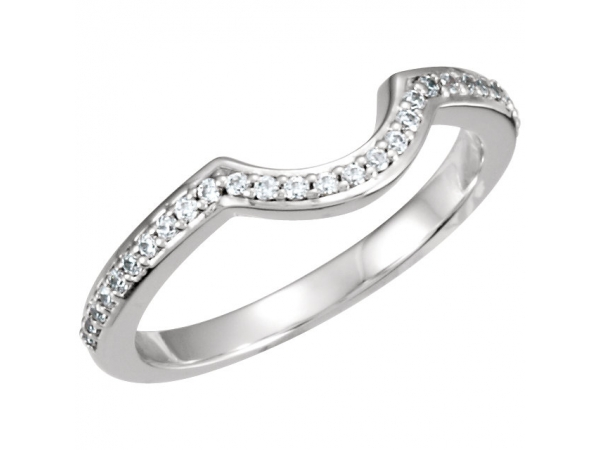 Halo-Style Engagement Ring Matching Band - Palladium 1/8 CTW Diamond Band for 4.5mm Round Engagement Ring