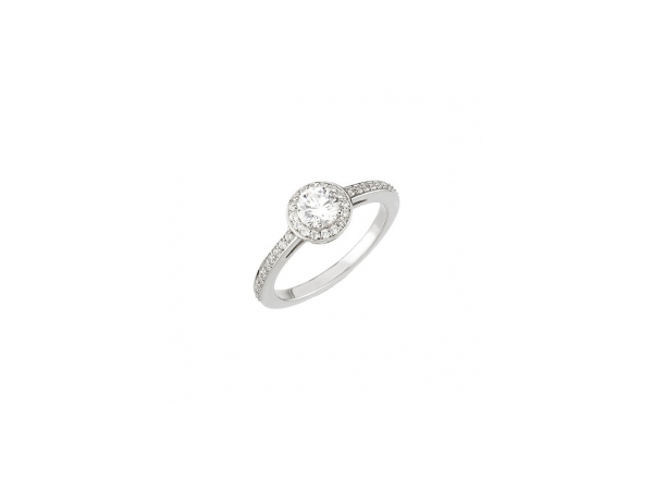 14K White Gold Round Cut Engagement Ring with Side Diamonds