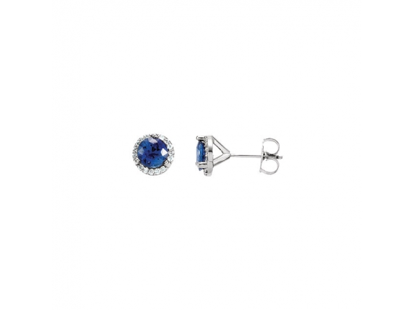 Halo-Style Earrings - 14K X1 White Blue Sapphire & 1/6 CTW Diamond Earrings