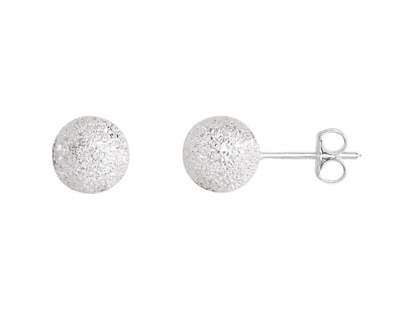 Stardust Ball Earrings - Sterling Silver 8 mm Stardust Ball Earrings