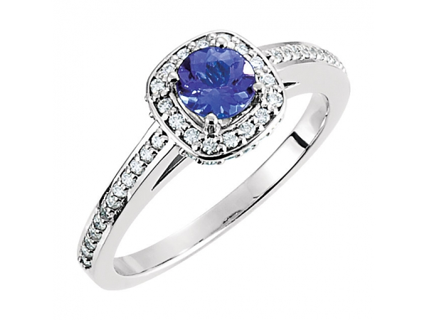 Halo-Style Engagement  Ring  - 14K White Tanzanite & 1/3 CTW Diamond Engagement Ring