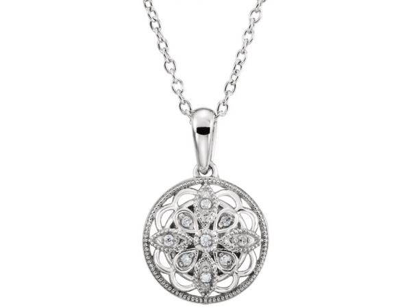 Granulated Filigree Necklace - Sterling Silver .05 CTW Diamond 18