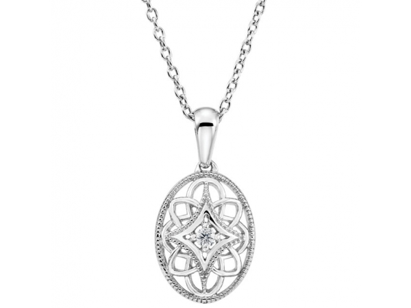 Granulated Filigree Necklace - Sterling Silver .03 CT Diamond 18