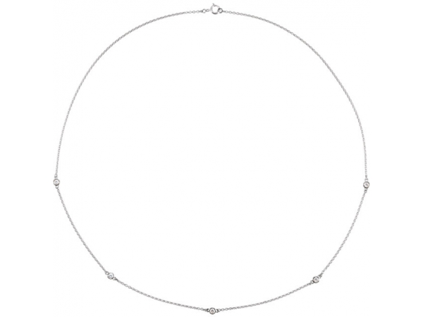 Bezel-Set Station Necklace - Sterling Silver 3/4 CTW Diamond Bezel 18