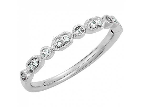 Milgrain Stackable Ring - 14K White 1/8 CTW Diamond Ring Size 7