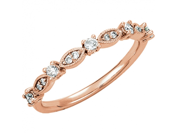Granulated Stackable Ring - 14K Rose 1/5 CTW Diamond Granulated Stackable Ring Size 7