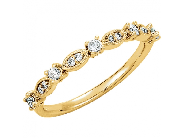 Diamond Ring - Polished 14K Yellow Gold Diamond Ring