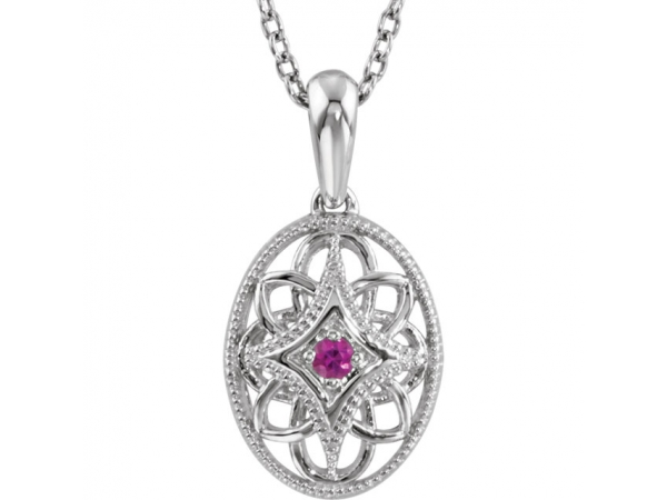 Accented Vintage-Style Necklace - Sterling Silver Ruby 18