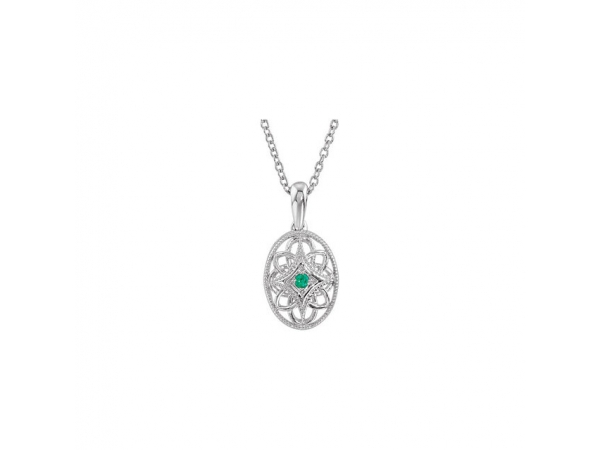 Accented Vintage-Style Necklace - Sterling Silver Emerald 18