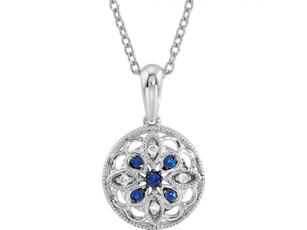 Granulated Filigree Necklace - Sterling Silver Blue Sapphire & .03 CTW Diamond 18