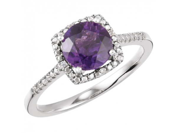 Halo-Style Birthstone Ring  - Sterling Silver Amethyst & .01 CTW Diamond Ring Size 7