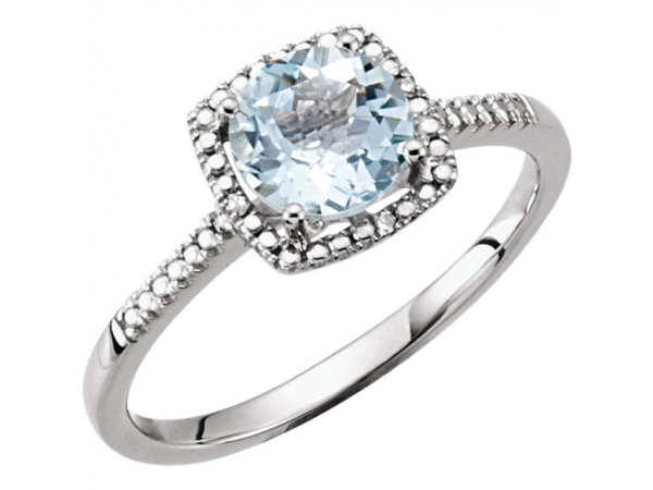 Halo-Style Ring  - Sterling Silver Aquamarine & .01 CTW Diamond Ring