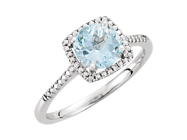 Halo-Style Ring  - Sterling Silver Sky Blue Topaz & .01 CTW Diamond Ring
