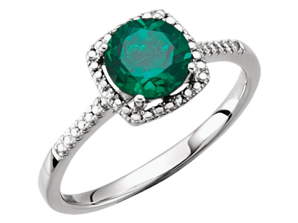 Halo-Style Ring  - Sterling Silver Lab-Grown Emerald & .01 CTW Diamond Ring