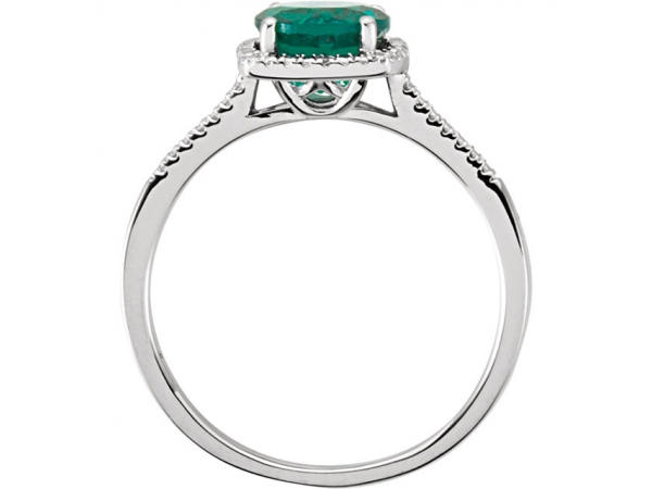 Gemstone Rings - Created Emerald Ring - image #2