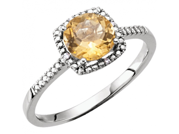 Genuine Citrine Ring - Polished Sterling Silver Round Cut Genuine Citrine Ring