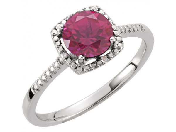 Halo-Style Ring  - Sterling Silver Lab-Grown Ruby & .01 CTW Diamond Ring