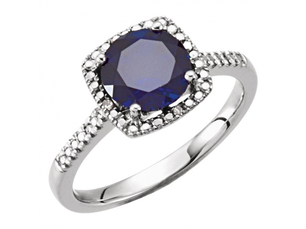 Gemstone Rings - Lab-Created Blue Sapphire Ring