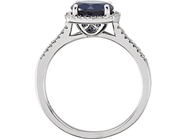 Gemstone Rings - Lab-Created Blue Sapphire Ring - image 2