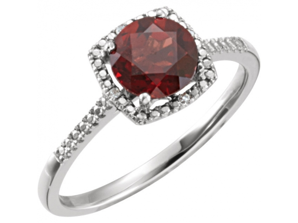 Halo-Style Ring  - Sterling Silver Mozambique Garnet & .01 CTW Diamond Ring