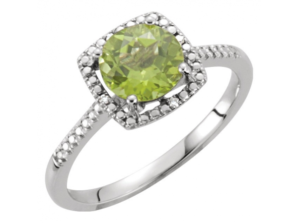 Halo-Style Ring  - Sterling Silver Peridot & .01 CTW Diamond Ring