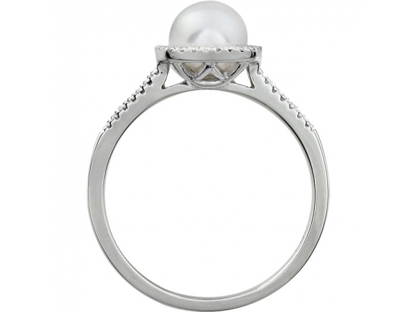 Gemstone Rings - Cultured White Freshwater Pearl Ring - image #2