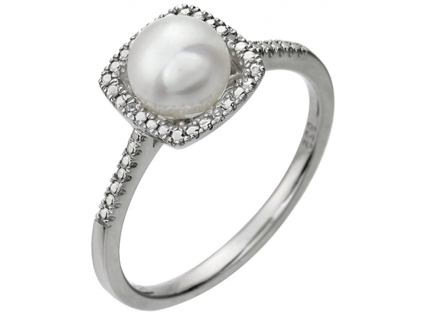 Halo-Style Birthstone Ring  - Sterling Silver Cultured Freshwater Pearl & .01 CTW Diamond Ring Size 5