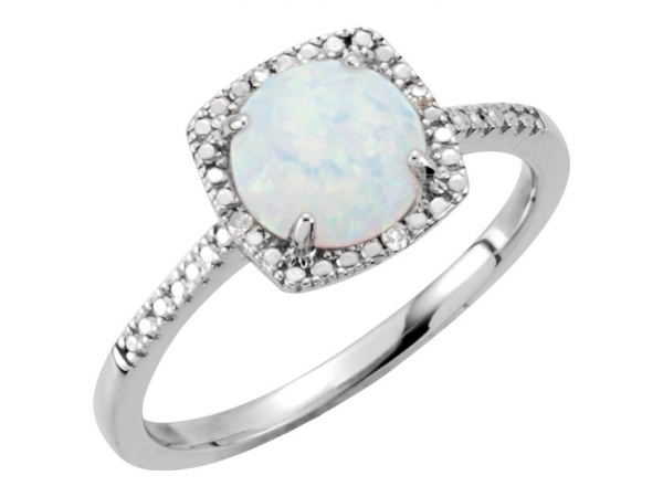 Halo-Style Birthstone Ring  - Sterling Silver Created White Opal & .01 CTW Diamond Ring Size 5