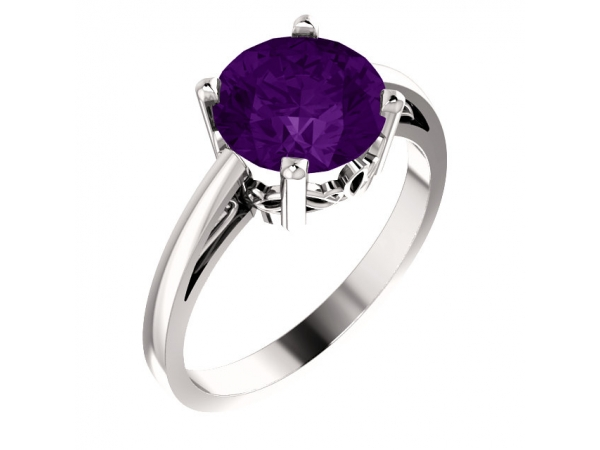 Amethyst Ring - Polished 14K White Gold Round Cut Amethyst Ring