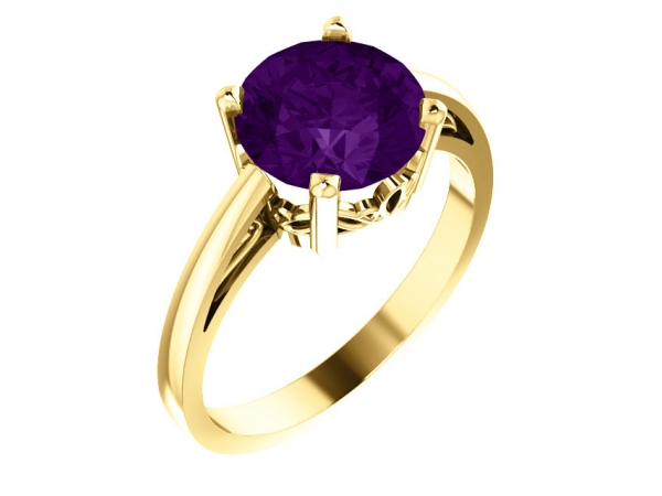 Scroll Setting® Ring - 14K Yellow Amethyst Ring