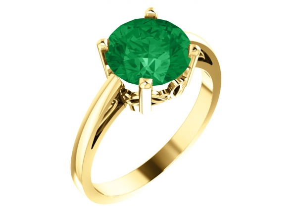 Chatham Created Emerald Ring - Polished 14K Yellow Gold Round Cut Chatham Created Emerald Ring