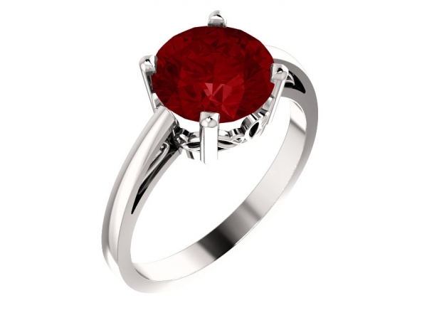 Scroll Setting® Ring - 14K White Chatham® Created Ruby Ring