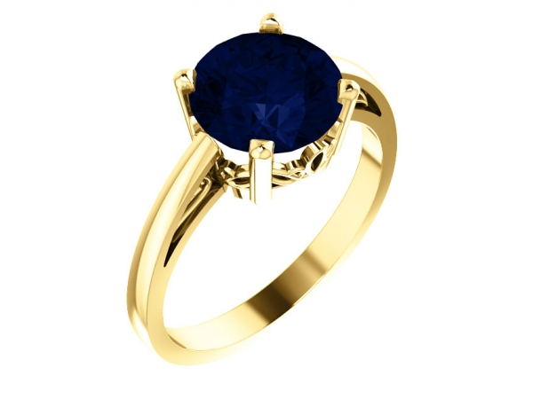 Scroll Setting® Ring - 14K Yellow Chatham® Created Blue Sapphire Ring
