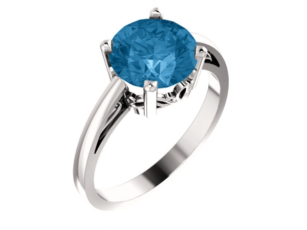 Scroll Setting® Ring - 14K White Swiss Blue Topaz Ring